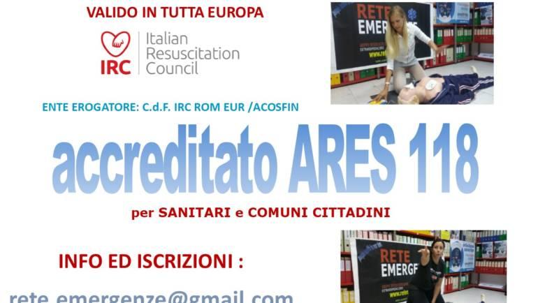 SABATO 23 MARZO 2019 a Roma Corso di BLS-D (Basic Life Support & Defibrillation) Certificato I.R.C. e Accreditato ARES 118