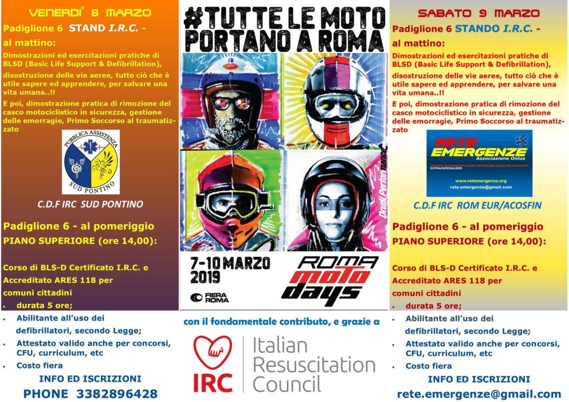"""Noi di RETE EMERGENZE Associazione Onlus, saremo ospiti Sabato 9 Marzo 2019, al """"ROMA MOTO DAYS"""""""