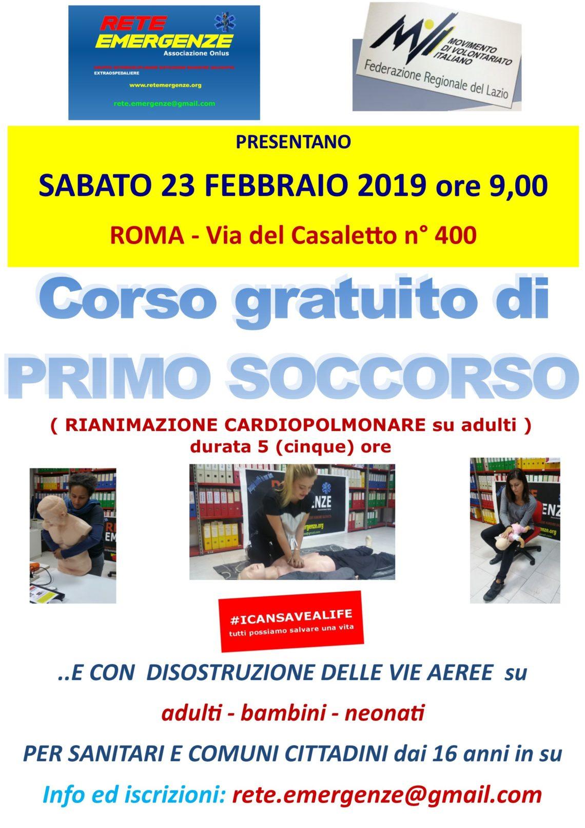 SABATO 23 FEBBRAIO 2019 a Roma Corso GRATUITO di Primo Soccorso, (Rianimazione cardiopolmonare su adulti)