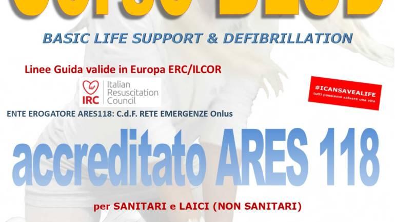 SABATO 25 GENNAIO 2020 a Roma  Corso di BLS-D (Basic Life Support & Defibrillation) Certificato I.R.C. e Accreditato ARES 118