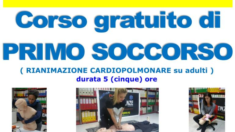 DOMENICA 22 MARZO 2020 a Roma Corso GRATUITO di Primo Soccorso,  (Rianimazione cardiopolmonare su adulti)