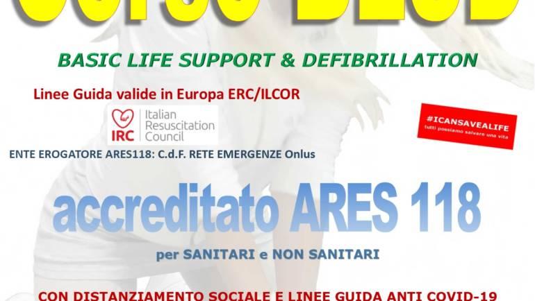 SABATO 25 LUGLIO 2020 a Roma  Corso di BLS-D (Basic Life Support & Defibrillation) Certificato I.R.C. e Accreditato ARES 118,