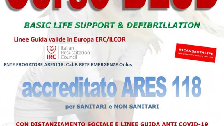 SABATO 29 AGOSTO 2020 a Roma  Corso di BLS-D (Basic Life Support & Defibrillation) Certificato I.R.C. e Accreditato ARES 118
