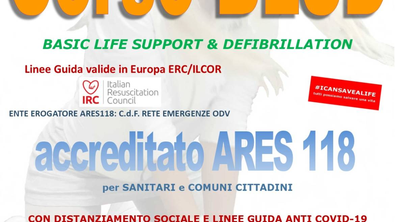 SABATO 24 OTTOBRE 2020 a Roma, Corso di BLS-D (Basic Life Support & Defibrillation) Certificato I.R.C. e Accreditato ARES 118