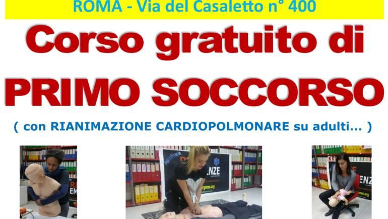 SABATO 10 e DOMENICA 11 OTTOBRE 2020 a Roma Corso GRATUITO di Primo,  Soccorso (Rianimazione cardiopolmonare su adulti)