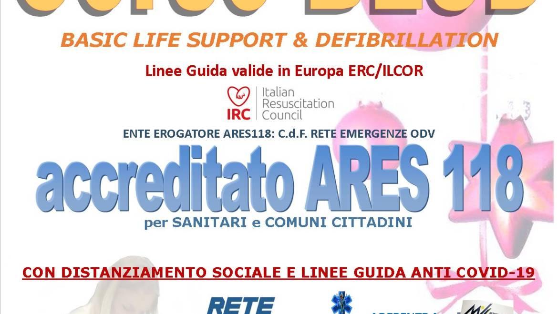 SABATO 19 DICEMBRE 2020 ore 9,00 – 14,00 a ROMA, CORSO BLS-D (BASIC LIFE SUPPORT & DEFIBRILLATION) con nuove Linee Guida anti COVID-19