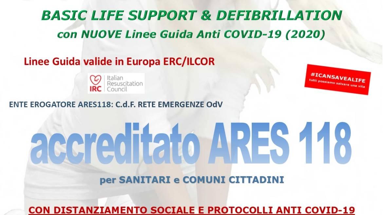 SABATO 23 GENNAIO 2021 ore 9,00 – 14,00 a ROMA, CORSO BLS-D (BASIC LIFE SUPPORT & DEFIBRILLATION) con nuove Linee Guida anti COVID-19
