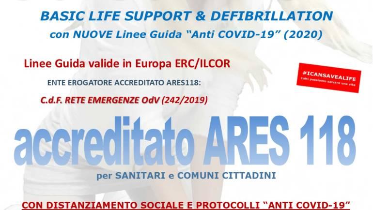 """SABATO 27 MARZO 2021 ore 9,00 – 14,00 a ROMA, CORSO BLS-D (BASIC LIFE SUPPORT & DEFIBRILLATION) con nuove Linee Guida """"anti COVID-19"""""""
