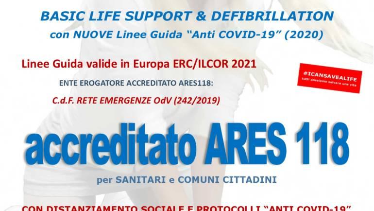"""SABATO 24 LUGLIO 2021 ore 9,00 – 14,00 a ROMA CORSO BLS-D (BASIC LIFE SUPPORT & DEFIBRILLATION) con nuove Linee Guida ERC/ILCOR 2021 e """"anti COVID-19"""" (2020)"""